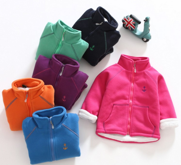 Winter new plus fleece warm polar fleece jacket hooded boy girl все цены