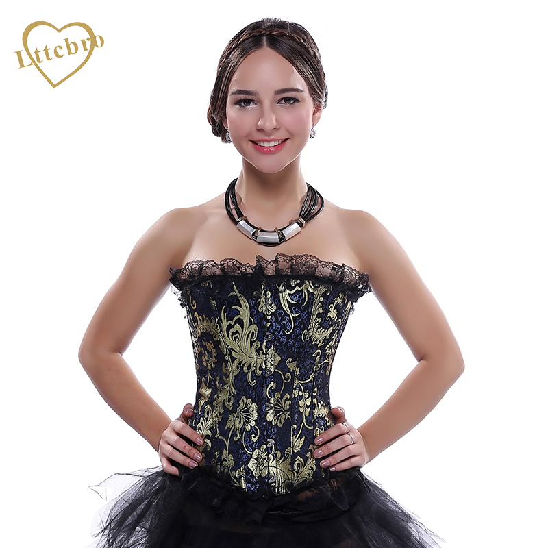 Sexy Plus Size   Corset   Brocade Lace Trim&Gold Floral Embroidery Decoration And   Bustiers   Top Women Lace Up   Bustier     Corset   G Tops