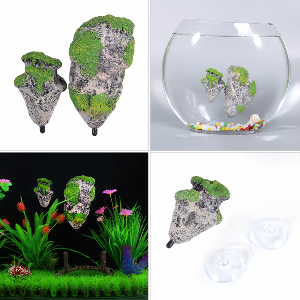 Aquarium fish tank sizes - 4pcs Aquarium Decoration Floating Pumice Suspended Stone Artificial Fish Tank Moss Flying Rock Aquatic Ornament Landscape 2 Size