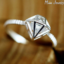 Fres Transport Shiny Zircon 925 Sterling Silver Finger Rings For Ladies Jewellery Wholesale
