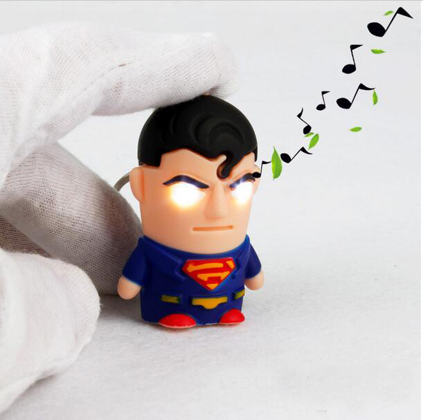 1pcs  Ultra Bright LED Cute Avengers Superman Electronic  Keychain  Action Figure Toys With Sound Keychain Kids Gifts 32cm 2017 new avengers toys movie avengers alliance captain america shield cosplay costume led flashing sound kids toys gifts