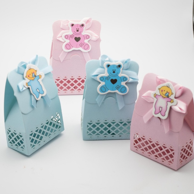 12 X Baby Shower Favours Candy Box Christening Gift Boxes Bags