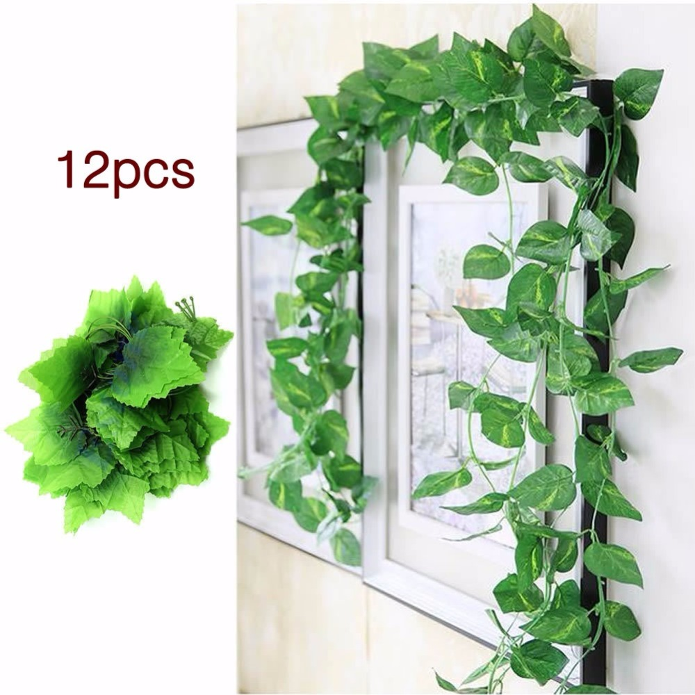 12x artificial ivy garland vine fake foliage leaves for for Artificial leaves for decoration