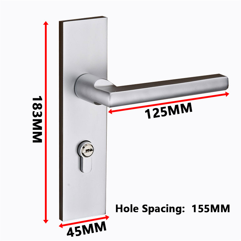 Superieur Simple Silver Space Aluminum Door Lock Handles Latch With Keys Modernized  Polished Chrome Locker For 35 45mm Room Handle Set  In Door Handles From  Home ...