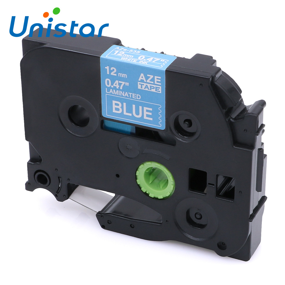 Unistar TZe535 compatible with Brother P-touch Tape 12mm White on Blue Printer Ribbons TZ Label Tape 12mmx8m TZe535 Label Maker(China)