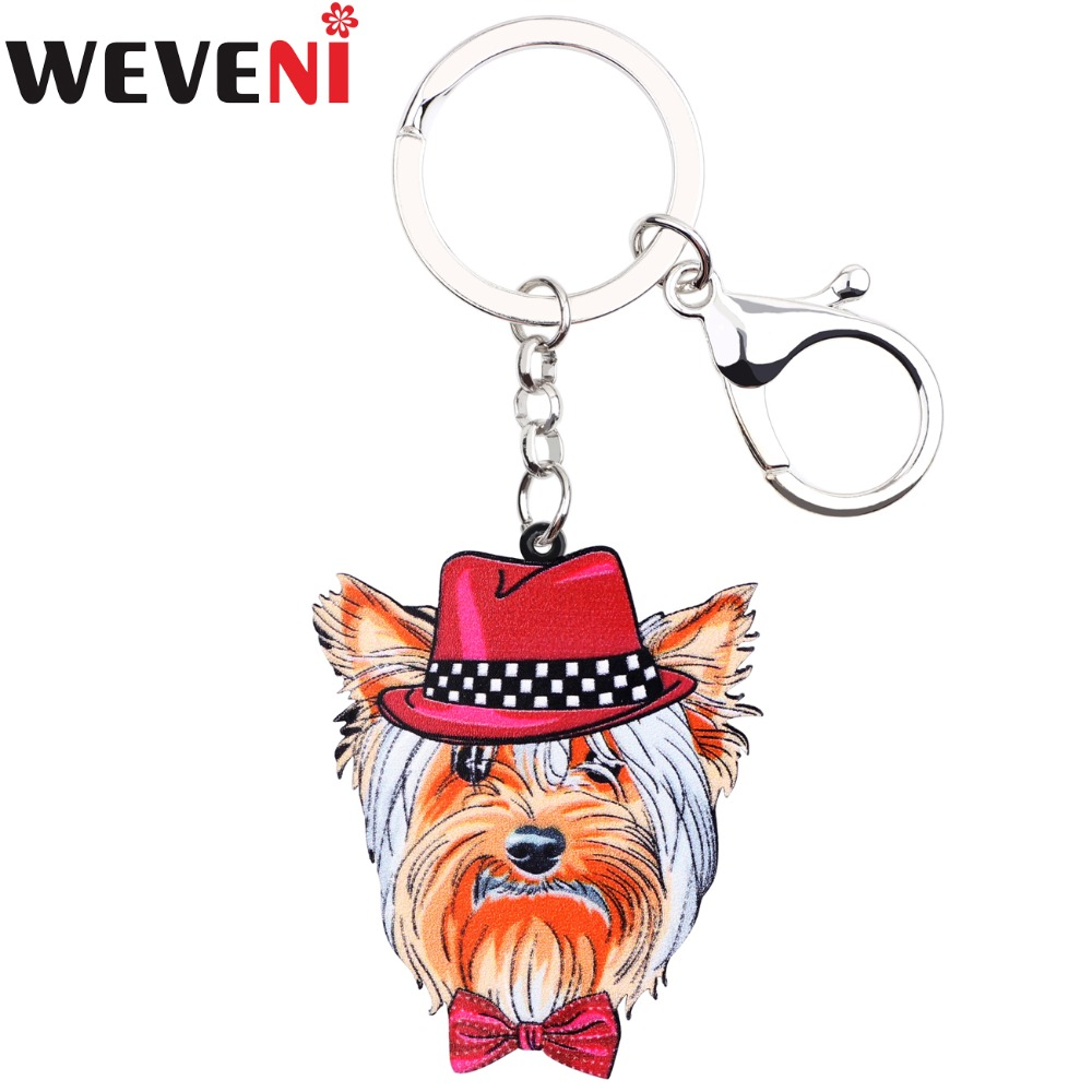 WEVENI Yorkie Yorshire Terrier Face Dog Key Chain Key Ring Handbag Charm Car Keychain Ac ...