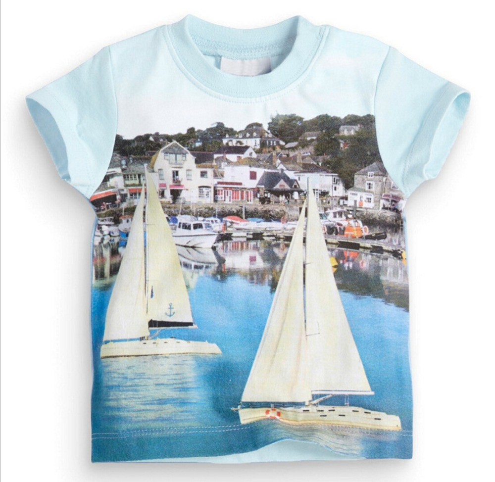ed3a7c17b US $12.89 |Summer Baby Little Boys' T shirt Cotton Short Sleeve Towns  Sailboat Printed Kids Beach Tops 2017 New Brand Children's Clothes-in  T-Shirts ...