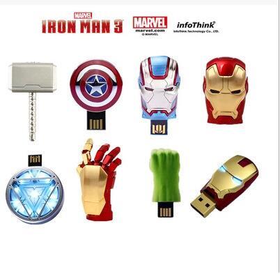 Marvel Avengers USB 2.0 16GB 32GB 64GB 128GB 256GB Flash Drive Pen Drive Iron Man America Captain Hammer Hulk Flash Memory Stick