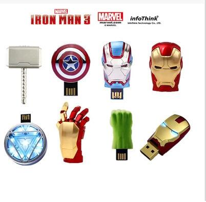 Marvel Avengers USB 2.0 8GB 16GB 32GB 64GB 128GB Flash Drive Pen Drive Iron Man America Captain Hammer Hulk Flash Memory Stick