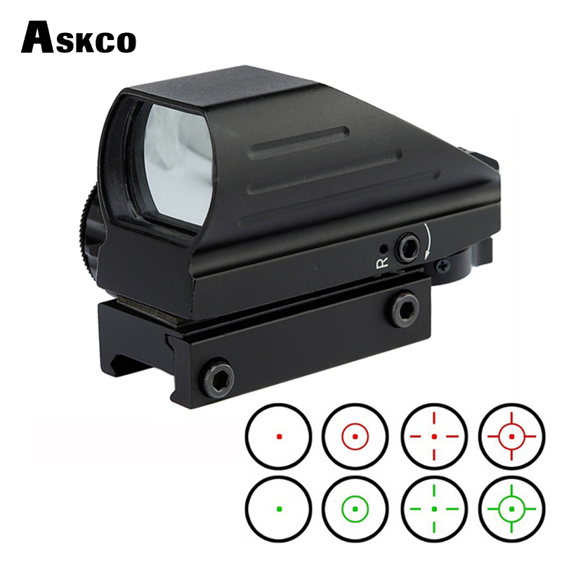 Askco 20mm/11mm Rail Red Dot Scope Riflescope Optics Tactical Red Green 4 Reticle Dot Reflex Optics Sight Scope for Hunting купить в Москве 2019