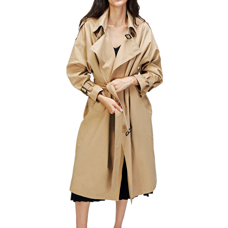 maxi   trench   coat loose outwear cotton oversize double breasted outfit women lady 2018 england style luxury brand high quality