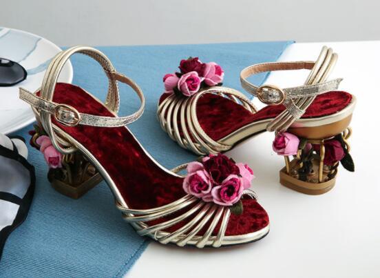 Fleur Cadge Talon Femme Nouveau Bas Luxe De Sandale Designer Sandales Oiseau Chunky Femmes AqqX1nv