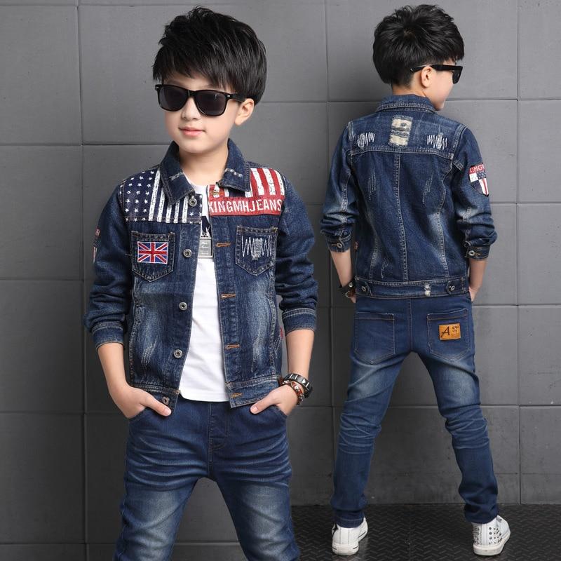 цена  Boys Denim Jacket & Boys Jeans 2pcs  Clothing Set Boy Outerwear Denim Pant Boys Clothes for 3 4 6 8 10 12 13 Years Old RKS175001  онлайн в 2017 году