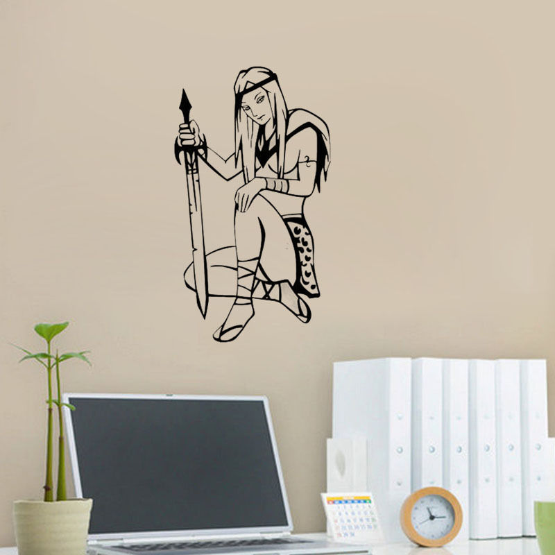 Online Shop Sexy Girl Warrior Wall Decal Bedroom Wall Decor Sport