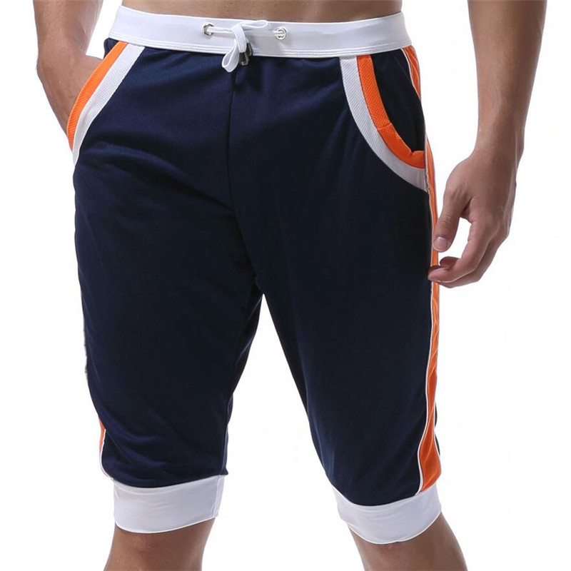 WJ Летние повседневные спортивные шорты, мужские брюки, эластичные Брендовые мужские капри, модные облегающие спортивные шорты длиной до колен, быстросохнущие шорты для тренировок