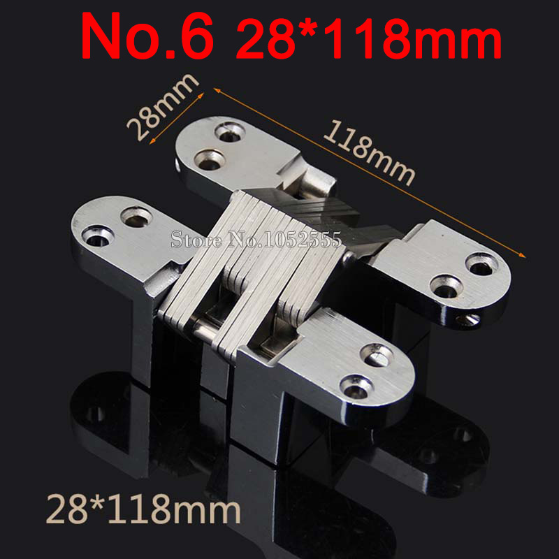 50PCS 28x118mm Heavy Duty Folding Door Hidden Hinges Stainless Steel Background Wall Invisible Concealed Cross Door Hinges K100 hot 2pcs stainless steel heavy duty pivot door hinges 360 degree up and down rotary hinges wood door hidden hinges