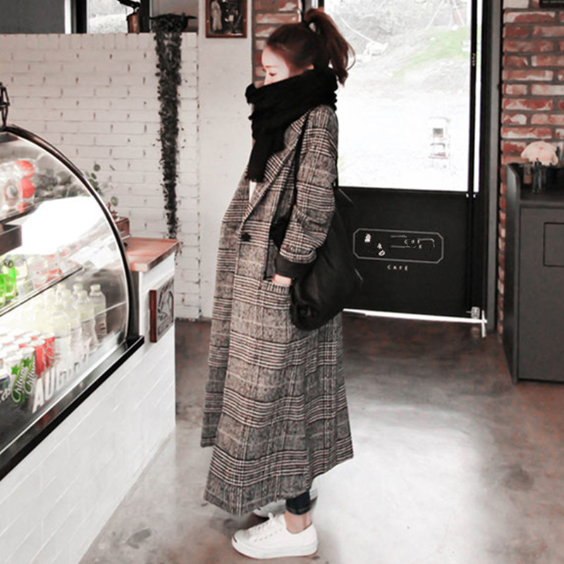 2019 Newest Woman Autumn Plaid Long Coat British Fashion Turn-down Collar Long Sleeve Slim Woolen   Trench   Coats Plus Size XXL