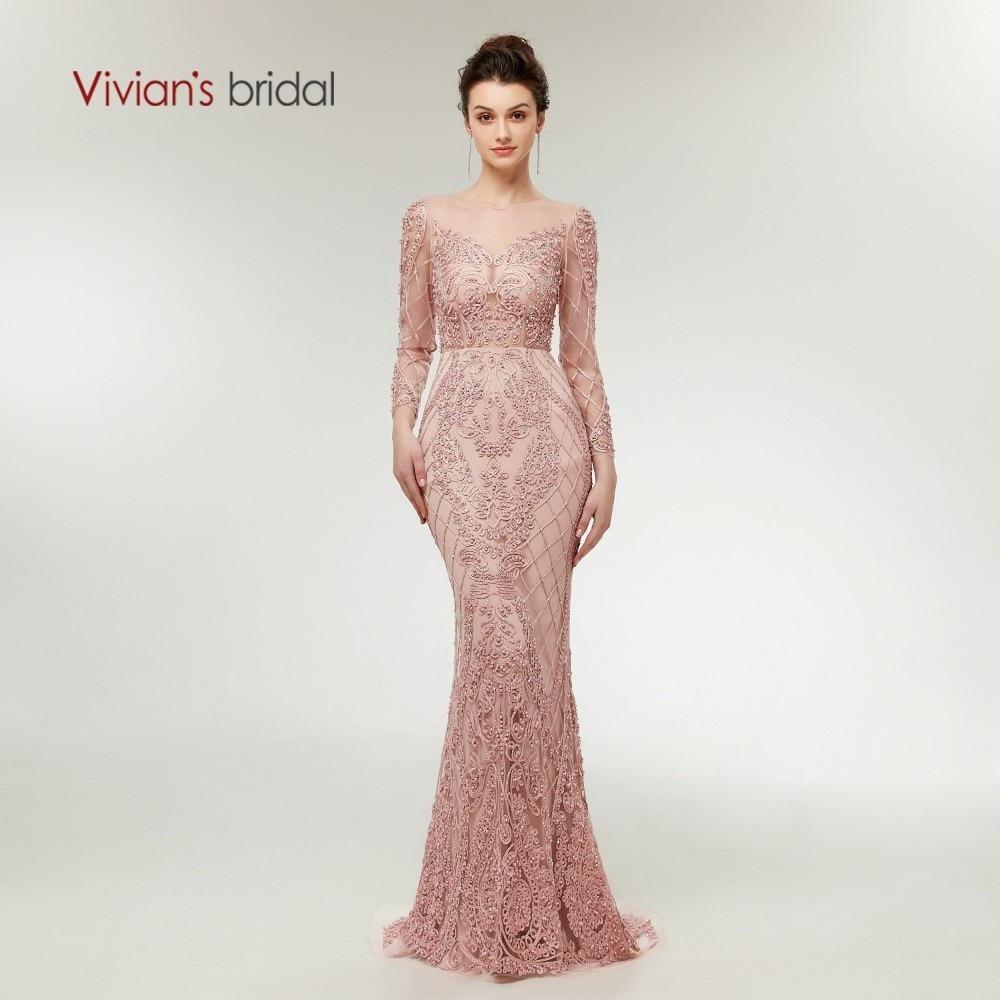 Nuptiale de Vivian 2018 Illusion Maille Rose Sirène Robes De Soirée En Dentelle Appliques Perles Poires Zipper Femmes Long Partie Formelle de Robe