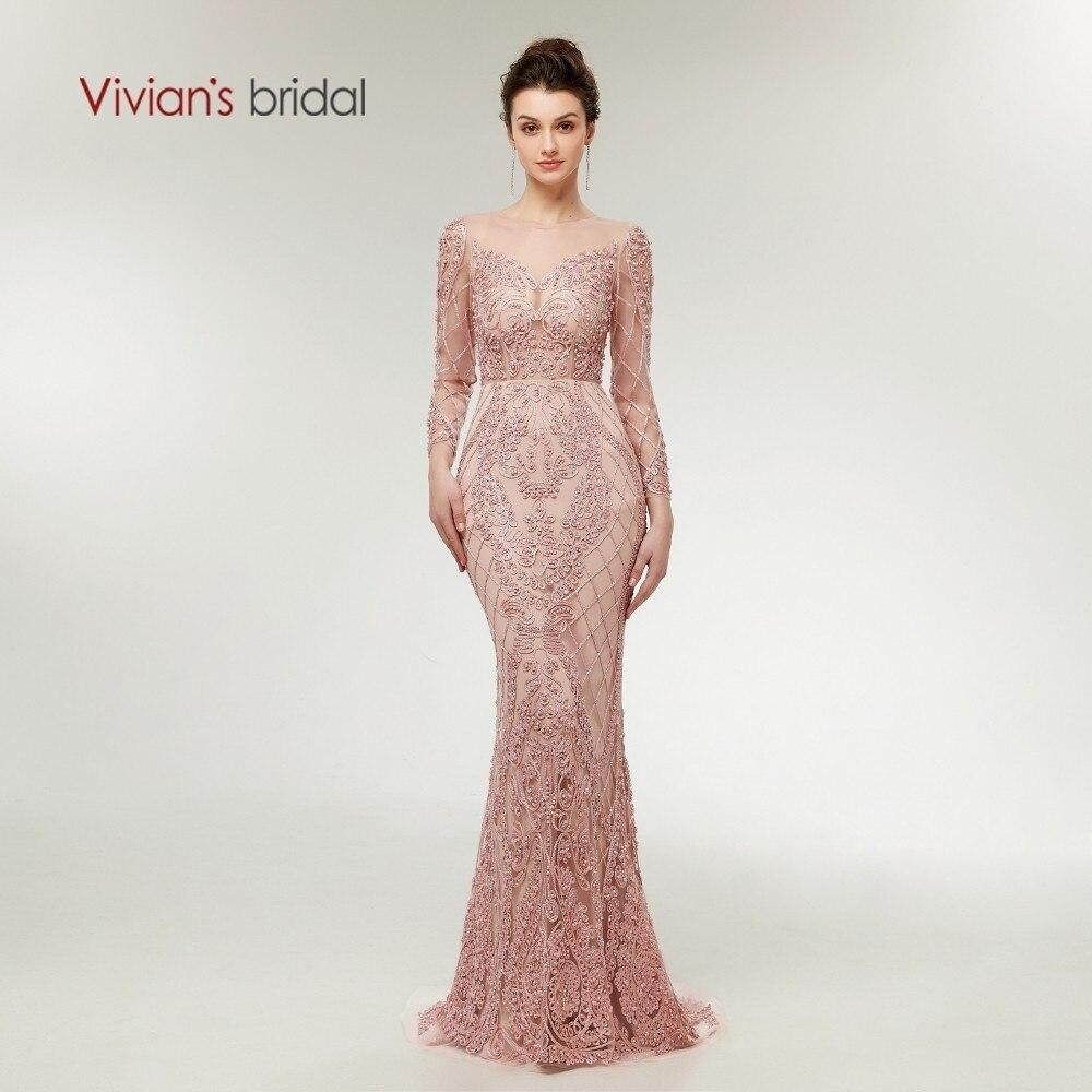 Vivian nupcial 2018 Illusion malla Rosa sirena vestidos de noche Lace Appliques rebordear peras cremallera mujeres largo vestido de fiesta Formal