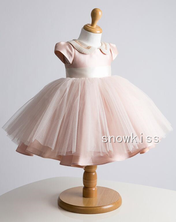 Dusty rose blush pink flower girl dresses baby first birthday dress beaded pearls cap sleeves infant christening dress with sash