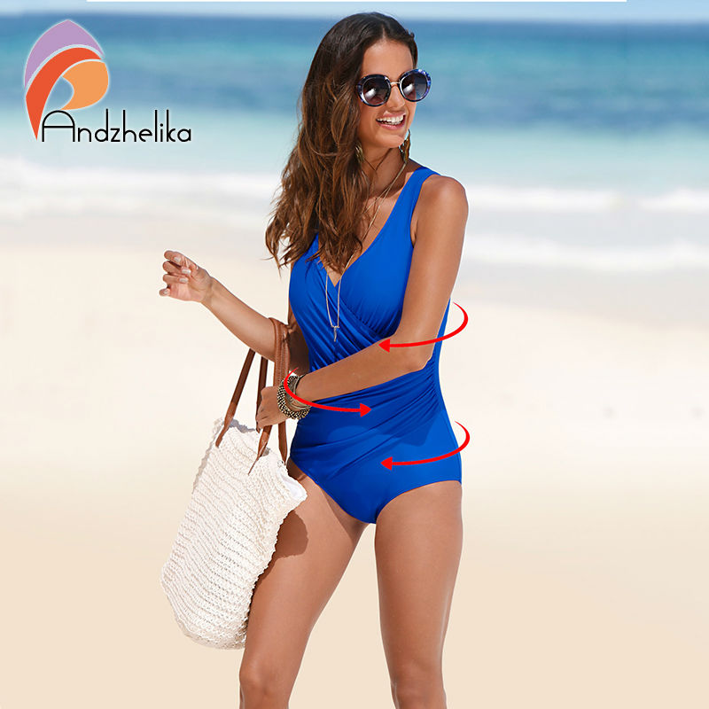 Andzhelika One Piece Swimsuit Women Solid Fold BddySuit Plus Size Swimwear Retro Vintage Bathing Suits Swimming One-Piece suits недорго, оригинальная цена