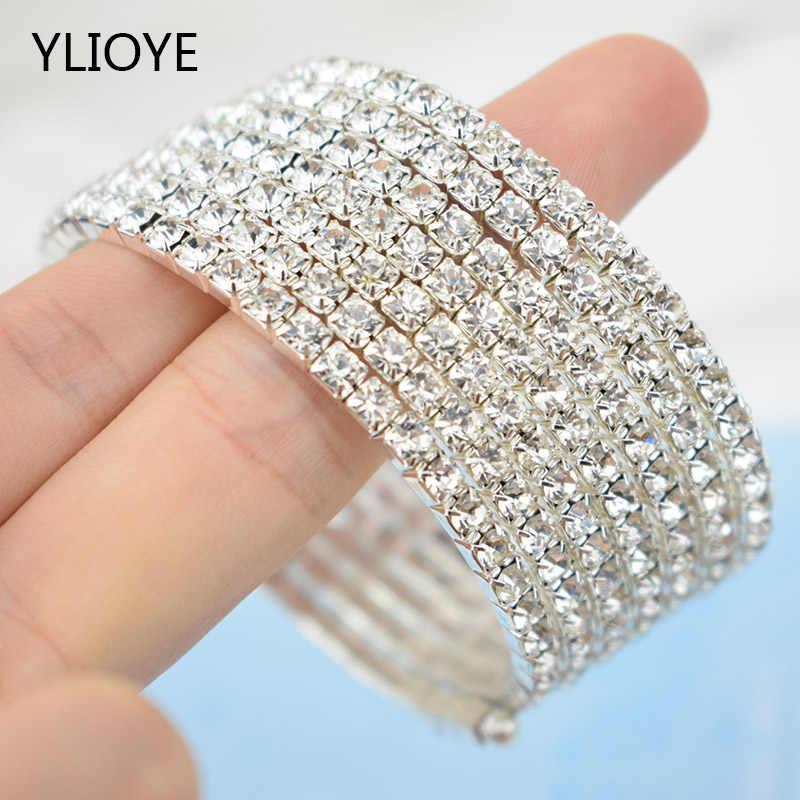 2019 argent Bracelets Bling argent alliage cristal clair Bracelets 3/5/7 rangée élastique large Bracelets bijoux meilleur cadeau pour les femmes