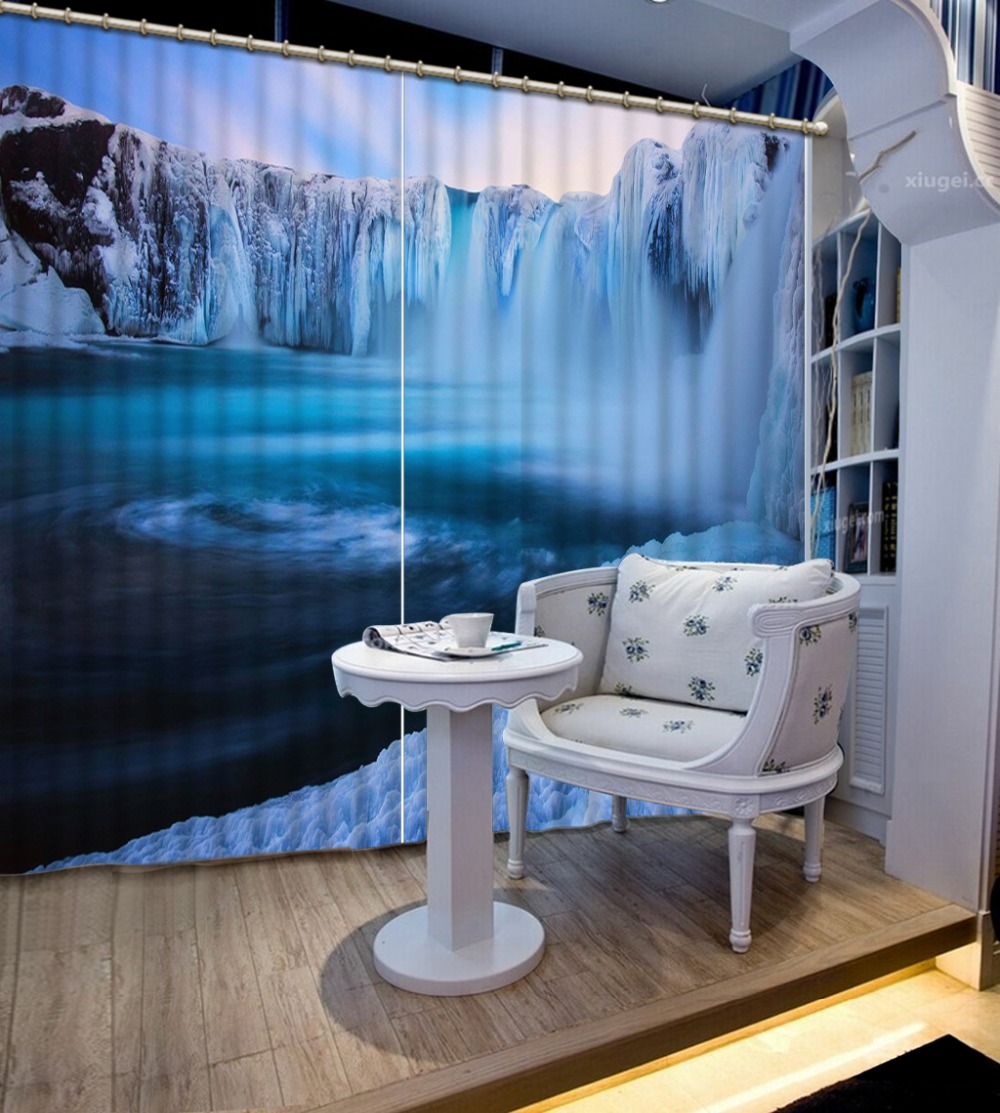 Ice sculpture waterfall Curtain 3d Blackout Window Flower For Living room Bedroom Hotel Blackout Home Decoration CurtainsIce sculpture waterfall Curtain 3d Blackout Window Flower For Living room Bedroom Hotel Blackout Home Decoration Curtains