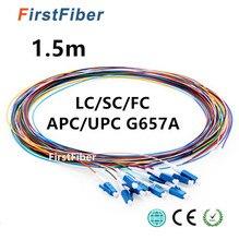 เส้นใย Pigtail 12 สี 1.5 m SC/LC/FC/APC/UPC fiber Pigtail สาย G657A 12 แกน 12 เส้นใย Simplex 0.9 มม.