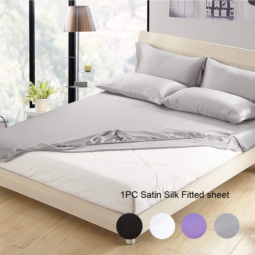 enipate 1 pcs satin silk fitted sheet no pillowcase solid bedding sheet us twin full queen king. Black Bedroom Furniture Sets. Home Design Ideas