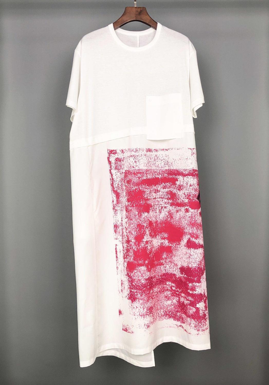 2019 new ladies fashion short sleeved round neck cotton print dress 0601
