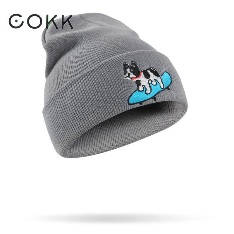 Cokk Solid Skullies Beanies Winter Hats For Women Men Animal Warm Winter Beanie Hat Female Bonnet Knitted Cap Male Winter Cap skullies