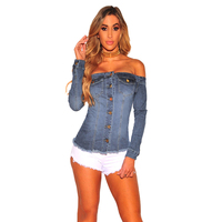 Hot New Women Casual Fashion Autumn Button Jean Slim Blouse Sexy Ladies Top