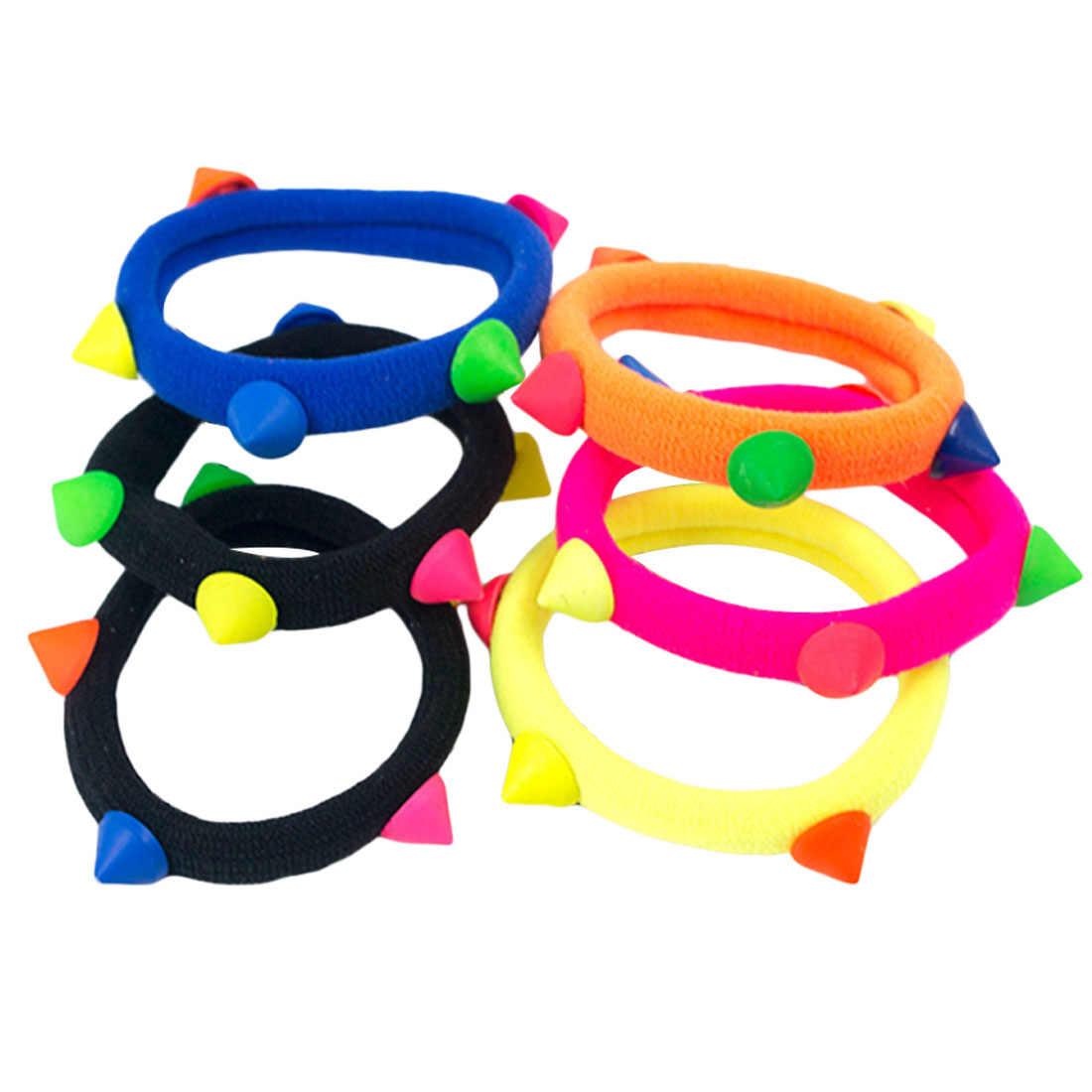 20 шт./партия, яркие флуоресцентные цветные эластичные резинки для волос для девочек, резинка для волос, аксессуары для волос, кольца для волос