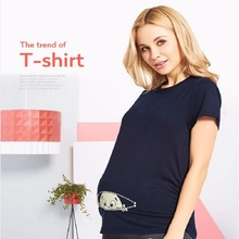 k0012018 Women T Shirts Cartoon Funny Pregnancy T shirts for Pregnant Women Sleepwear Cotton T shirt