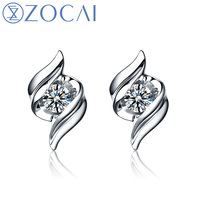 ZOCAI встреча 100% натуральный бриллиант 0,07 КТ H/SI настоящий бриллиант 18 К белого золота серьги гвоздики ASOS fine jewelry E00799