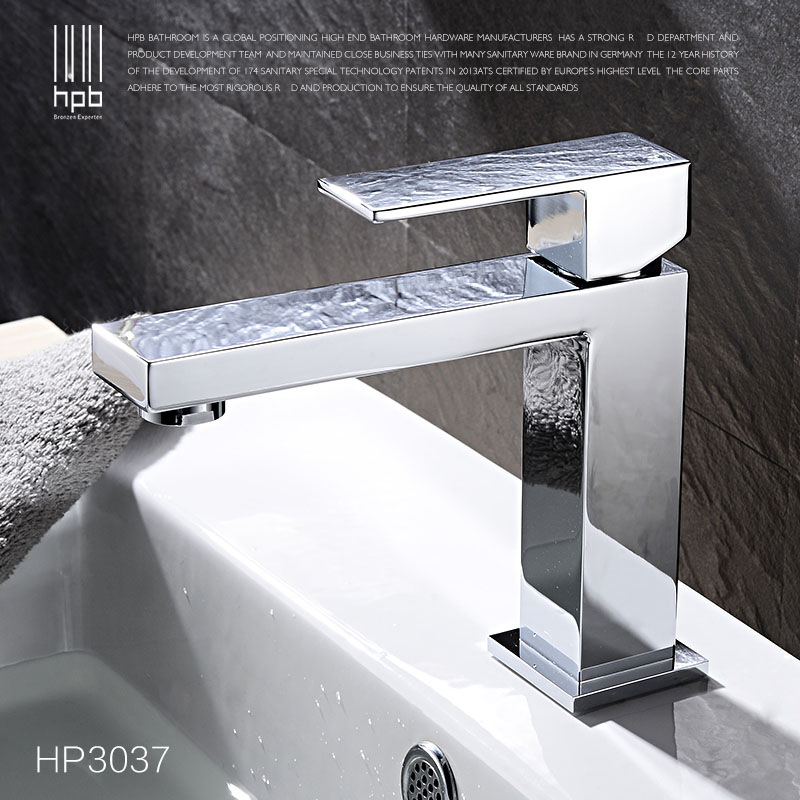 HPB Square Brass Basin Faucet Hot and Cold Water Single hole handle Sink Bathroom faucets Mixer Tap grifos para lavabos HP3037 hpb pull out bathroom faucet brass sink basin mixer tap cold hot water chrome single hole handle fashion design quality hp3030