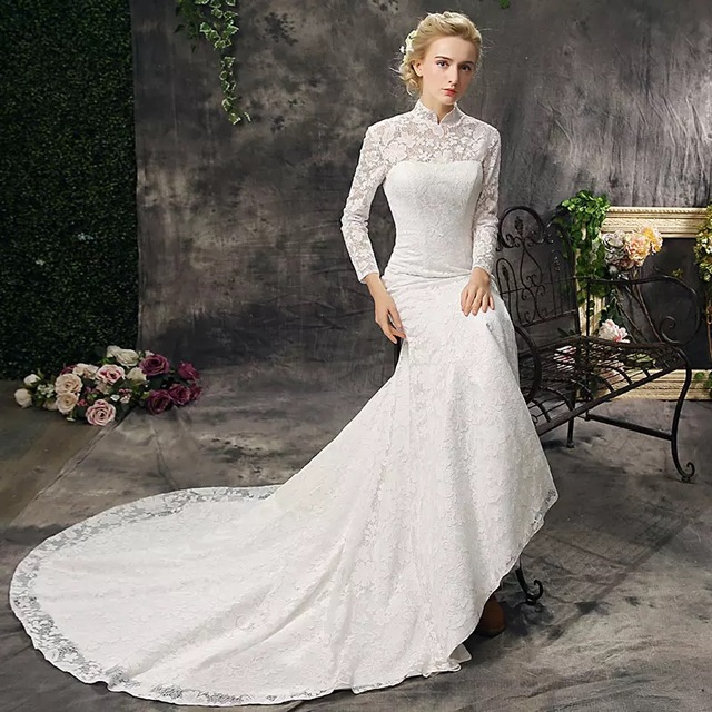 Super Elegant China Traditional High Neck Lace Mermaid Wedding Dresses Gowns Weding Bridal Bride
