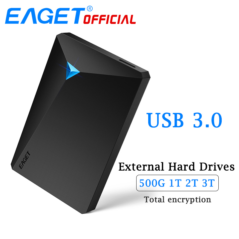 EAGET HDD Hard Disk Encryption External Hard Drive Disk USB 3.0 High Speed 500GB 1TB 2TB 3TB Desktop for Laptop Computer Phones eaget g30 3tb 2tb 1tb 500gb 2 5 usb 3 0 high speed shockproof external storage hard drive hdd desktop laptop mobile hard disk