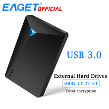 EAGET G20 Mobile Hard Disk USB 3.0 Encryption External Hard Drive High Speed 500GB 1TB 2TB 3TB Desktop for Laptop TV PC Phones