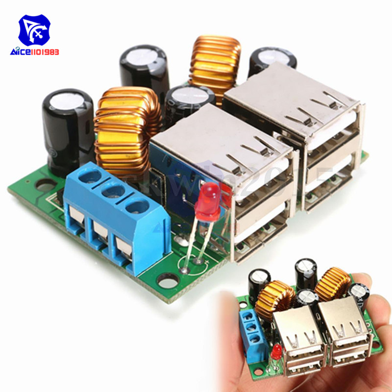 4 Four USB Port A5268 Step Down Power Supply Converter Board Module <font><b>DC</b></font> 12V 24V 40V to 5V <font><b>5A</b></font> For MP3/MP4 Phone Car Equipment image
