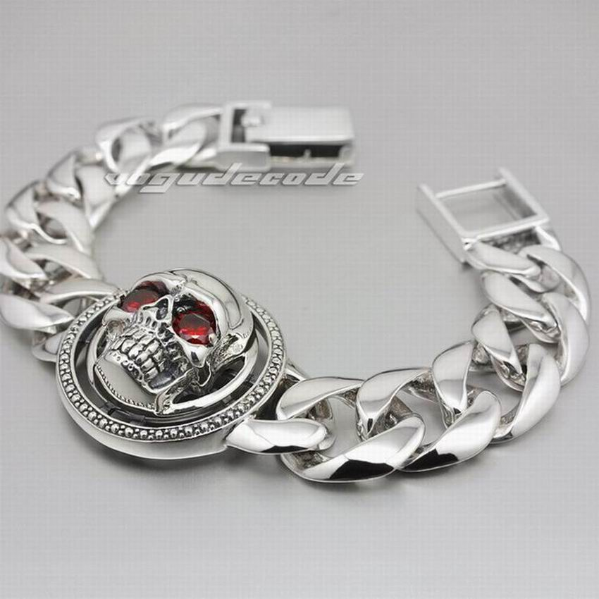 9 Lengths 925 Sterling Silver Huge Rotatable Red CZ Stone Eyes Skull Men Biker Bracelet 8F010 new design stone bracelet men women popular stone bracelet skull micro pave cz beads skull male bracelet crown zircon bracelets
