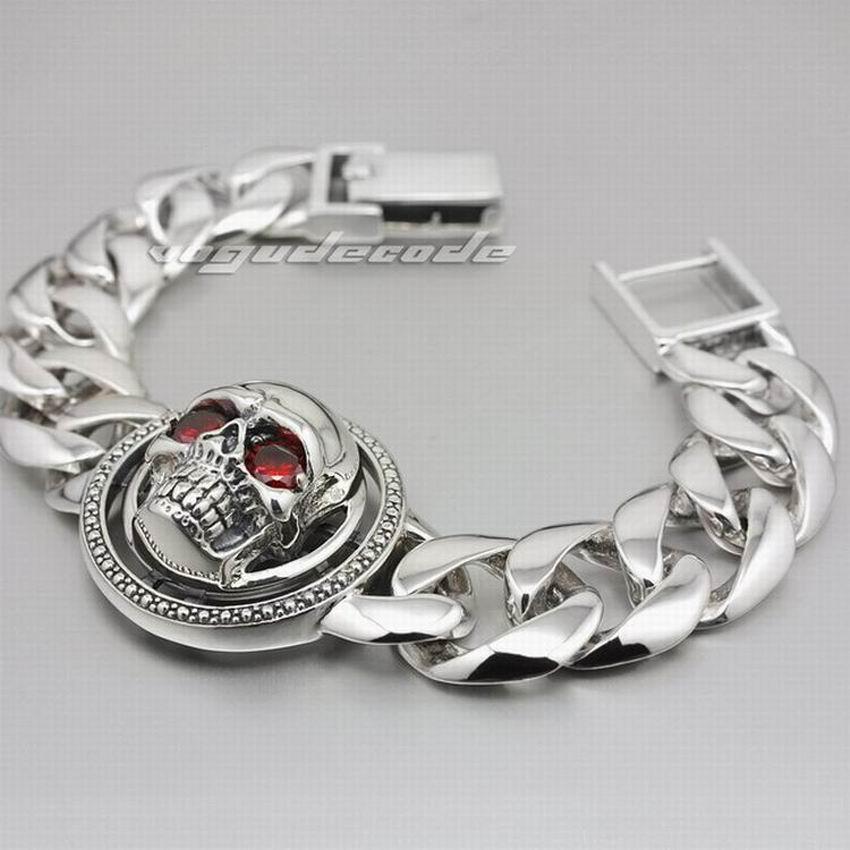 9 Lengths 925 Sterling Silver Huge Rotatable Red CZ Stone Eyes Skull Men Biker Bracelet 8F010