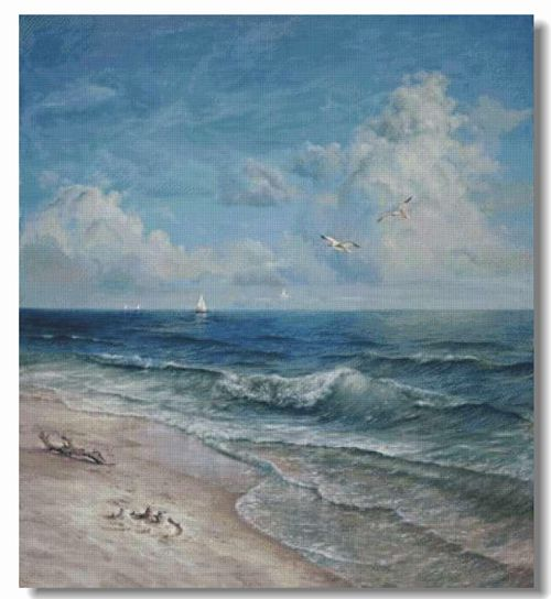 Scenery Seaside Blue beach Handmade Needlework Embroidery DIY DMC Cross Stitch Kits Crafts 14CT Unprinted Home