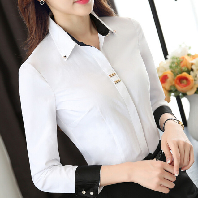 Fashion Clothes OL Women Long Sleeve Shirt Black White Slim Patchwork Sequined Cotton Blouse Office Ladies Plus Size Formal Tops 5
