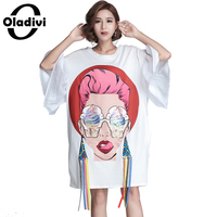 Oladivi Sequins Shirt 2018 Summer Plus Size Women Clothing Cotton Casual Dress Fashion Lady Printed Tassel