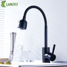 Kitchen Faucet modern style flexible kitchen sink mixer faucet taps single handle 304 Stainless steel black cold and hot water