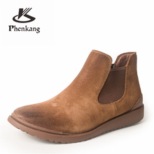 Genuine Leather cow suede winter men boots Ankle chelsea Boots men shoes elastic band Handmade oxford shoes for men grey 2020