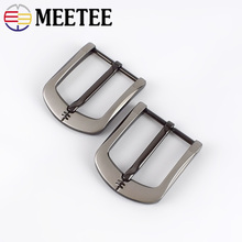 MEETEE 5pcs 40mm Hot DIY Leather Craft Hardware 40mm Pin Buckle Belt Buckle Brushed Zinc Alloy Metal Belt Accessories ZK840 1x 40mm metal belt buckle center bar single pin buckle men s fashion belt buckle fit 37 39mm belt leather craft accessories