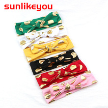 Sunlikeyou Newborn Baby Headbands Bronzing Dot Cotton Turban 2019 Style Bows Hairband Girl Hair Accessories