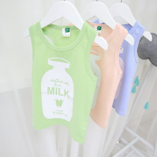 2-7T Boys t shirt brand sleeveless tops children girls milk bottle t shirts kids clothing summer kikikids vetement enfant garcon